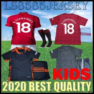 KIDS kit 20 Casas de Futebol Pogba 21 FC Manchester B.FERNANDES uniformes unidos 2020 Rashford 2021 meninos Utd goleiro camisas de futebol