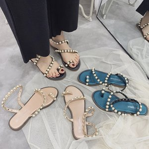 2020 Korean Version Pearl Travel Sandals Female Vacation Students Wild Clip Toe Roman Sandals Women Flat Beach Comfortable