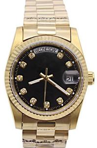 LUXE TOP JOUR MECANIQUE DES HOMMES Montre NOIR Bracelet INOX Mouvement automatique OR design Argent Montres-bracelets DATE