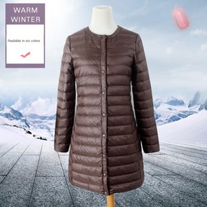 Light Women's medium and long jacket jacket 2019 white duck down slim winter down liner thin coat
