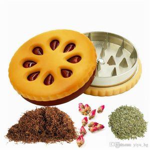 55 milímetros Biscuit metal Smoke Grinder liga de zinco 2 Camada Tobacco Crusher secas Grinder Forma Flores Herb Grinder Biscoito engraçado presente