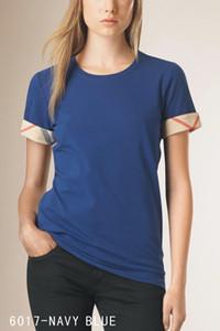 2020 Новый 100% хлопок женщин конструктора тенниски женщин Plaid Короткие SleeveTee для лета женщин Tshirts Повседневный
