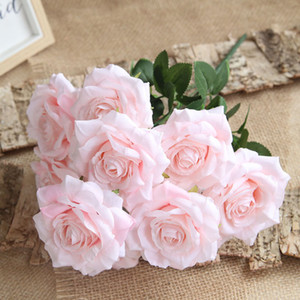 50cm Plastic Rose Artificial Flower Silk Rose Flower Bouquet Photo Props Home Decoration Fake Flower Holding Flowers