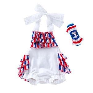 Baby-Spitze-Spielanzug American Independence Day Printed Bodysuit Infant Baby neugeborene Mädchen-beiläufige Kleidung Dot Rüschen Baby-Kleidung 060512