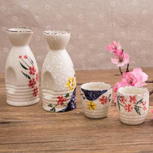 Sake giapponese Set creativo di vino in ceramica Flowers set iniziale isolamento vino Vetro Ceramica Sake d'arte e gli uccelli