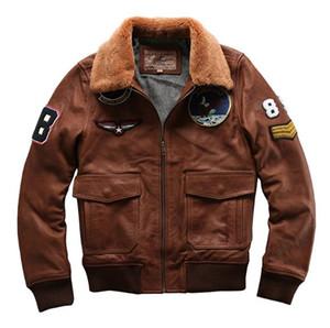 AVIREXFLY Grind песчаные воловьей кожи мотоцикл кожаная куртка короткий мужской ягненка меховой воротник летного комбинезона А2