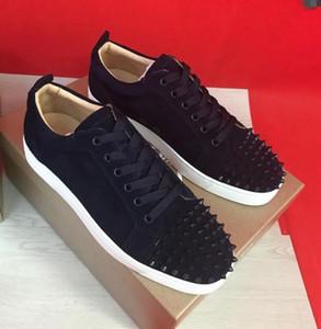 2019 Classic Spikes Sneakers basse a fondo rosso con borchie Suola rossa Designer di lusso Calzature Louisflats Junior Reggiseno sportivo in pelle scamosciata blu scuro
