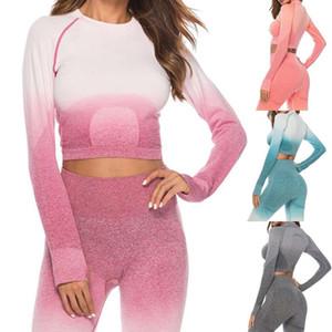 Maniche lunghe Donne allenamento fitness Set SolidT-shirt Athletic Esercizio Abbigliamento Gym Sport vestito Bassiera Leggings dC