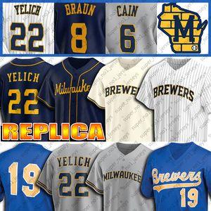 Milwaukee Brewers Personalizado 22 Christian Yelich Jersey 19 Robin Yount Jerseys Ryan Braun Jersey Lorenzo Cain Brandon Smoak Baseball Jersey
