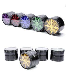 Vender Hot Metal Tobacco Smoking Herb Grinders 63 milímetros liga de alumínio Com Limpar Top Janela Lighting Grinders 12 cores Frete grátis