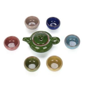 Nouvelle main argile pourpre Kung Fu à thé Théière Verres & Tea Pot Cup Set Yixing bouilloire chinois puer de Teaset en céramique avec boîte de couleur