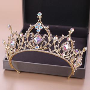 Barok Kristal Tiara Taç Gelin Saç Aksesuarları Renkli Kristal Taç Gelin Tiaras Düğün başlıkiçi Prenses Kraliçe Diadem