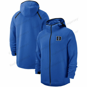Dük Mavi Şeytan Tişörtü 2018-2019 On-Court Basketbol Oyuncu Showtime Performans Tam Zip Hoodie Donanma Mens NCAA Spor Hoodies