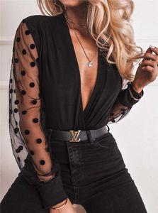패션 V 넥 여성 블라우스 여성 메쉬 퍼프 슬리브 도트 블랙 풀오버 블라우스 캐주얼 여성 의류 탑