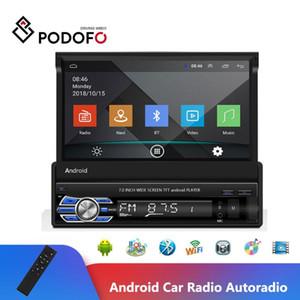 Podofo Android Car Radio Retractable GPS Wifi Autoradio 1 Din 7'' Touch Screen Car Multimedia MP5 Player Bluetooth Radio Stereo