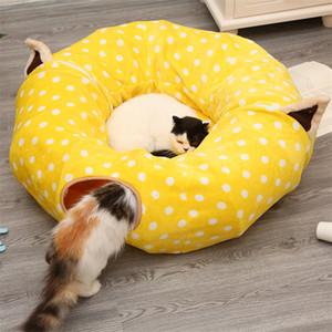 Nette Tunnel Katze Betten Haustierbedarf Waschbare Rolle Katze Schlafsack Katze Spielzeug Kreatives Zwei-Wege-Klapptunnel-Haustier Bett Haus