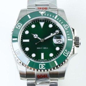 Erkek Lüks Saatler V9 904L 116610LN ETA 3135 Otomatik Mekanik Saatler Siyah Yeşil Seramik Çerçeve Aydınlık Dalış İzle DHL Ücretsiz Kargo