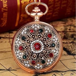 Livraison gratuite dames européennes et américaines regarder rétro femme montre de poche montre classique rétro noble noble plein diamant mode bracelet cadeau pour hommes watc