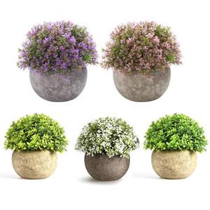Bonsai impianto di simulazione ornamenti d'epoca Fiore Green Grass Piante di sfera di plastica del POT della decorazione della casa