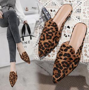 Büyük Boy 41 luipaard muilezels vrouwen nieuwe beroemde merk koreaanse flats terlik dames puntige babouche pantuflas mujer kaydırdı