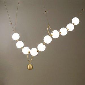 Chambre Luxe Simplicité Collier de perles de verre Art Hall Lustre LightsLiving Salle d'exposition Salle Personality Bubble Lampes LED Hanglamp