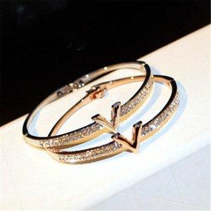 Luxury Letter V Crystal Bangles For Women 3 Colors Pulseira Feminina Fashion Design Rhinestone Arm Cuff Bracelet Jewelry Gift