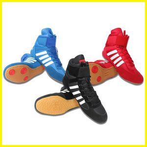 2019 nuovi uomini scarpe Wrestling boxe scarpe stringate muscolo della mucca stivali di pelle in tessuto Gomma pugile palestra sport Sneakers attrezzature formato 36-46