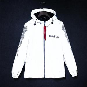Yeni tam yansıtıcı ceket erkek / kadın harajuku rüzgarlık ceket kapüşonlu hiphop streetwear gece parlak fermuar kat jacke