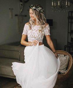 2020 Due Pezzi spiaggia di estate Abiti Country Wedding chiffon linea manica corta Boho pizzo abiti da sposa pulsanti Indietro vesti de mariée