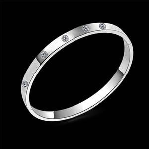 Braccialetti del diamante 925 regali gioielli Sterling Silver ha placcato il modo di cristallo del braccialetto del braccialetto per le donne Larghezza signore 7 millimetri diametro 60mm