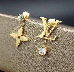design di lusso donne gioielli orecchini in argento a quattro foglie di orecchini fiore in acciaio inossidabile oro rosa Elagant asimmetrica regalo vite prigioniera del diamante