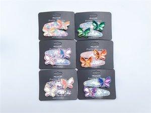 Boutique ins 12Pairs moda carino clip glitter laser farfalla Snap Solid paillettes Animal Barrettes principessa Accessori per capelli