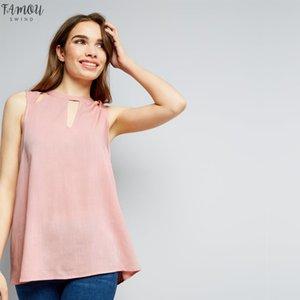 Seksi Düzenli blusas Femininas şifon Bayan Giyim Şık Vintage Dişil Gömlekler Plus Size Zsiibo için Sleeveles Bluz Tops