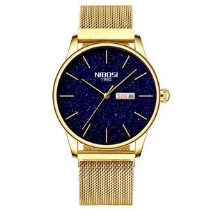 NIBOSI 2020 para hombre de acero Relojes de manera masculino superior de la marca de lujo del cuarzo azul de los hombres del reloj ocasional del deporte del reloj impermeable Relogio Masculino