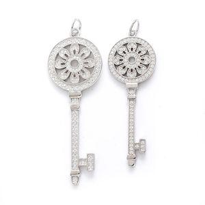 S925 Sterling Silver Chaves Pétalas Chave Pingente Colar com Diamantes 100% 925 Colares de Prata Melhor Presente Valentim para Mulheres