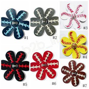 Leather Baseball Softball Hairclips clip del fiore dei capelli Seamed archi dei capelli con strass Pin baseball dei capelli Barrettes favore di partito GGA1715