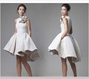 Krikor Jabotian Lace Short Cocktail Dress Short Front Long Back with Flower Decorations High Low Short Prom Homecoming Dress