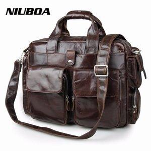 NIUBOA 100% echtes Leder-Aktenkoffer Weinlese-Mann Schultertasche Rindsleder Reise Messenger Bag viele Taschen-Mann-Laptop-Tasche CJ191129
