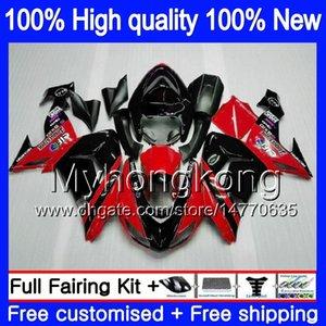 Carrosserie pour KAWASAKI ZX 10 R ZX1000C ZX10R 2006 2007 Rouge Noir 215MY.18 ZX1000 C ZX10R 06 07 ZX 1000CC ZX 10R 06 07 ABS carénages