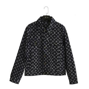 19ss Avrupa klasik tasarımcı retro casual denim ceketler kadınlar için deri tam mektup lazer baskı en kaliteli kumaş yaka mont
