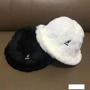 Nueva kangol canguro conejo del sombrero de piel cuenca del bordado sombrero caliente pescador piel blanca