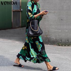 Summer Maxi Dresses Womens 2019 VONDA Manica Lunga Stampato Abito Vintage Stampato Floreale Allentato Casuale Spiaggia Vestito Estivo Vestidos 5XL