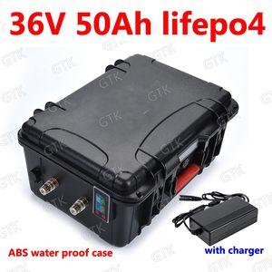 GTK wasserdichte 36V 50AH Lifepo4 Lithium Batterie mit BMS Temperaturanzeige für 1500W Roller Bike Tricycle Go Kart + 5A Ladegerät