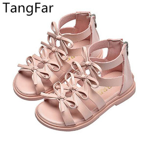 Girls Leather Gladiator sandals Bowknot Children Zipper Beach Shoes Fashion Knee-high Flat Heel Summer Boots T200703
