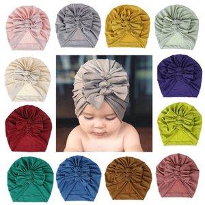 18 Farben-Baby-Hut für Mädchen Bögen Turban Hüte Infant Fotografie Props-Baumwolle Kinder Beanie Baby-Kappen-Accessoires Kinder Hüte für 0-3Y Baby