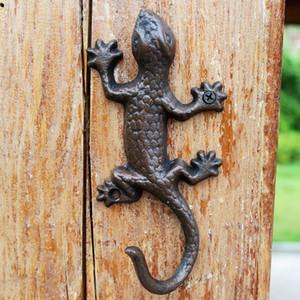 Cast Iron Rustic Gecko Lizard Hanging Wall Mounted Decoration Ornament Garden UK