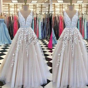 Elegancia vestidos de baile 2019 V profundo cuello piso-longitud del Applique del cordón vestidos del partido desgaste formal vestidos de noche por encargo