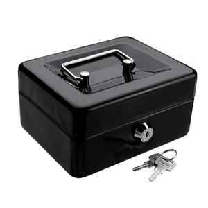 Mini Black Metal из нержавеющей стали Копилка Сейф за деньги монет Наличный лоток с Secret Key Cash Drawer Carry Box SH190925