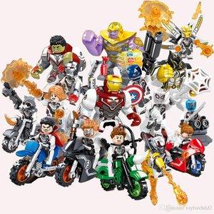 16 adet Avengers Mini Eylem Şekil Demir Adam Siyah Pather Hulk Thanos Thor Örümcek Adam Kaptan Marvel Super Hero Yapı Taşları Oyuncak