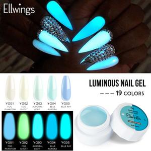 Ellwings Glow В Dark Гель лак для ногтей Светящегося Semi Постоянной Долговечность гель лак Soak Off UV LED Nail Art Блеск